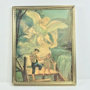 Vintage Print Angel Watching over Girl Boy Bridge